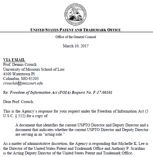 Michelle k lee is the director of the united states patent and trademark office - United states patent and trademark office ...